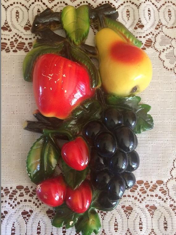 Vintage Caulk Wear Fruit Kitchen Decor Wall Hanger Caulk Etsy