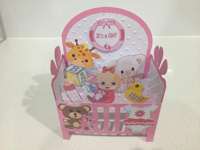 Handmade Baby Girl in a crib card