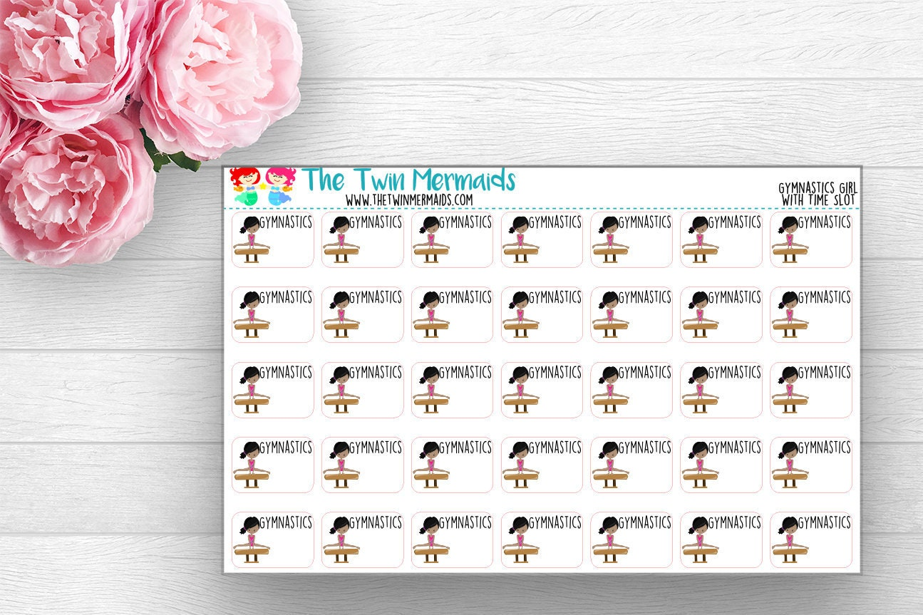 gymnastics class with time slot planner stickers etsy