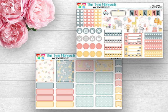 party animal weekly layout planner stickers etsy
