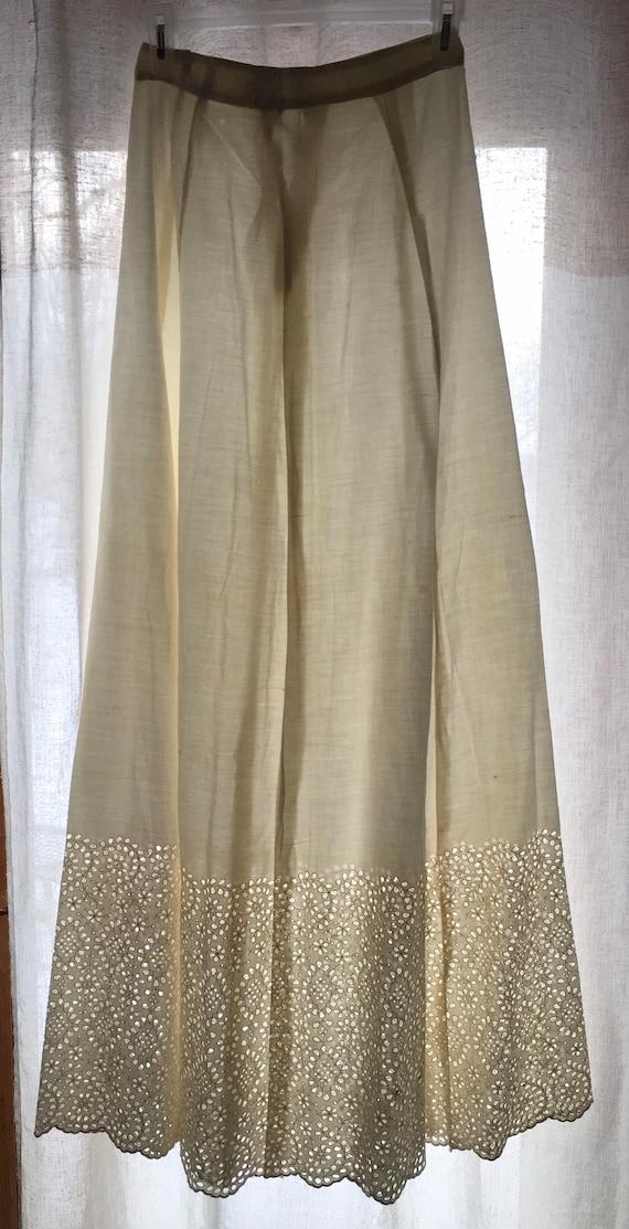 Antique Skirt, White, Floral, Eyelet Lace, Undersk