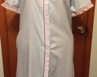 House Coat, muumuu, blue, womens Size 12, NOS, vintage