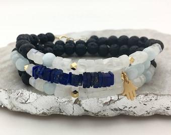 Sea Glass Aquamarine Rainbow Moonstone Lapis Lazuli Lava Bead Hamsa Wrap Diffuser Bracelet
