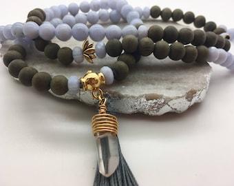 Long Mala Bead Necklace Blue Lace Agate Rainbow Moonstone Necklace 108 Mala Necklace Meditation Bead Necklace