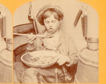 Little Boy Eating Hot Food Vintage B.W. Kilburn Stereoview Photo