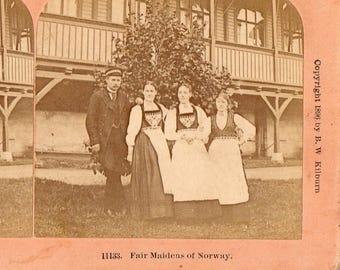 "1896 ""Fair Maidens of Norway"" Kilburn Stereoview Photo"