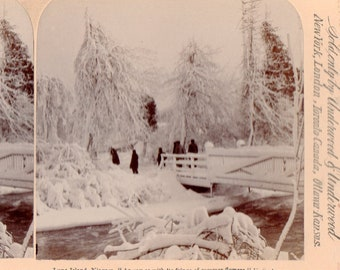 1893 Niagara, People Crossing Luna Island Bridge Stereoview Photo