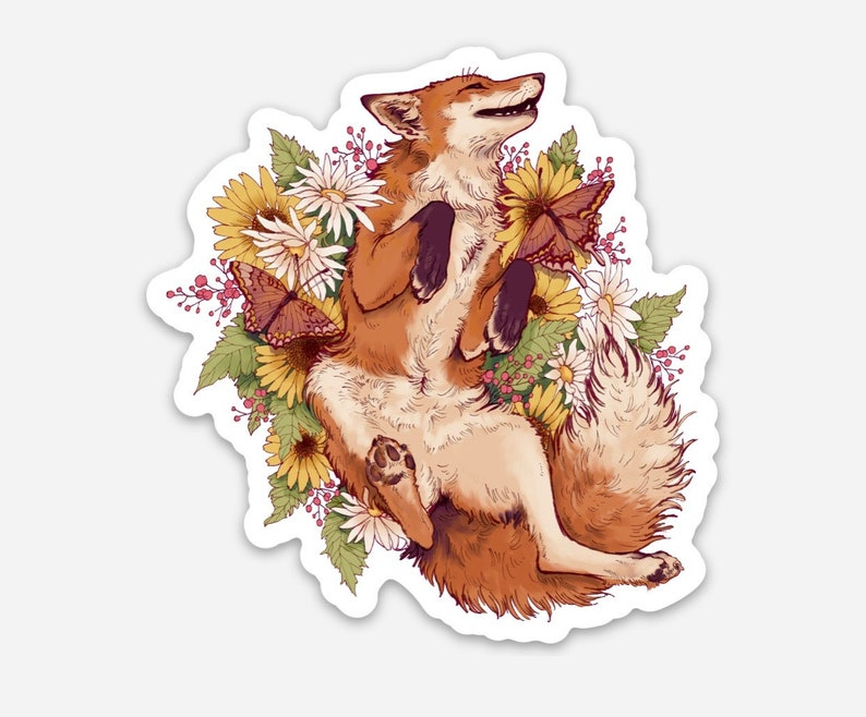 Floral Fox Weather Proof Sticker