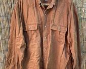 Vintage Carhart Button Up, Distressed Khaki denim Shirt, Rugged Camel Colored Shirt, Men 39 s 2XL