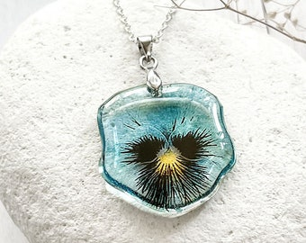 Unique pansy necklace teal flower jewelry summer birthday gift