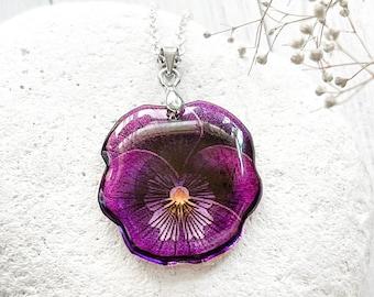 Red violet flower necklace Pansy necklace Purple viola pendant