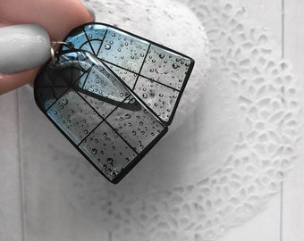 Rain mood earrings Rainy jewelry for her Architecture Designer gift Small window earrings