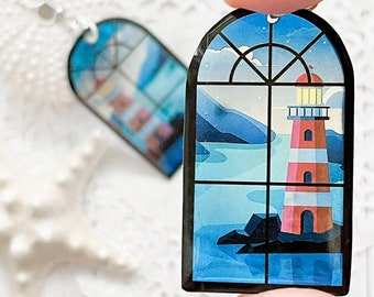 Summer lighthouse earrings Tropical beach jewelry gift ideas for wife
