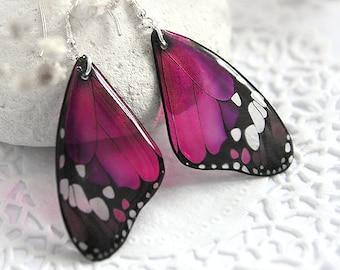 Dark pink butterfly earrings for girl Mothers day gift for women Fuchsia statement jewelry Magenta earrings look like real butterfly