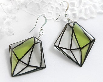 Diamond crystal earrings Green jewelry lime earrings Sacred jewelry Faceted earrings Best friends gift for wife Affordable gift