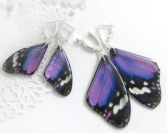 Wedding earrings for bridesmaid gift Purple butterfly earrings Butterfly jewelry set Elegant jewelry for women gift ultra violet earrings