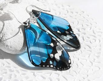 Denim blue earrings Butterfly earrings Butterfly jewelry Denim love earrings Summer earrings