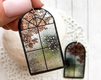 Autumn mood earrings Rainy day jewelry Autumn fall earrings Windows jewelry Vitrage jewelry gift Architecture Designer
