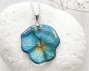 Blue flower necklace Light blue pansy jewelry Long distance relationship gift
