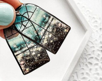 Small window earrings Rainy day earrings Autumn fall jewelry for her Architecture Designer gift
