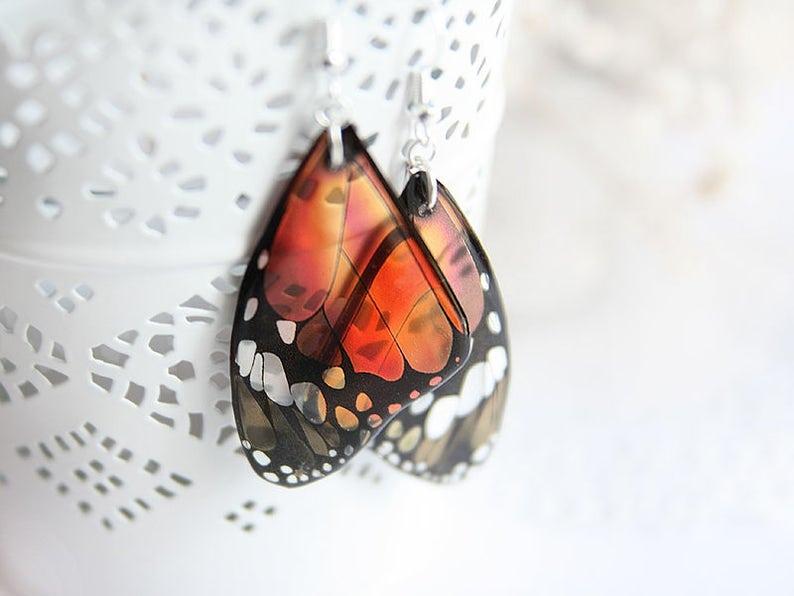 Burnt orange earrings Butterfly earrings Wanderlust jewelry image 0