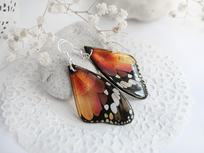 f798bc864 Orange earrings for women gift for girlfriend tiny Butterfly | Etsy