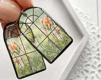 Architecture earrings Small window earrings Rain lover jewelry for Mom Birthday gift idea Architect jewelry