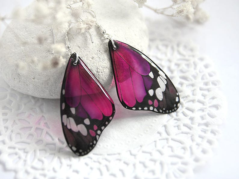 Dark pink butterfly earrings for girl Mothers day gift for image 0