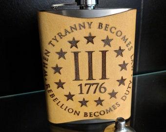 1776 Tyranny & Rebellion Full Grain Leather Flask Wrap