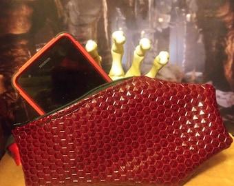 "Coffin handbag/wristlet phone, make-up, cash purse - horror goth - ""Red Hex"" - FREE DOMESTIC SHIPPING!!"