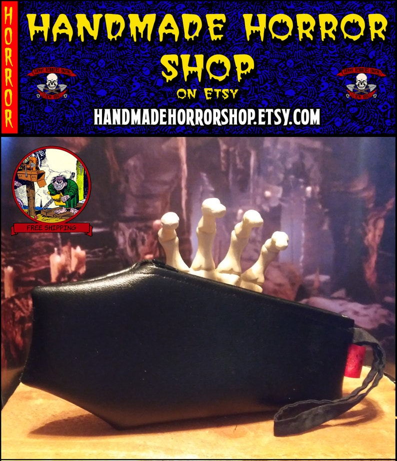 Coffin handbag/wristlet phone make-up cash purse  horror image 0