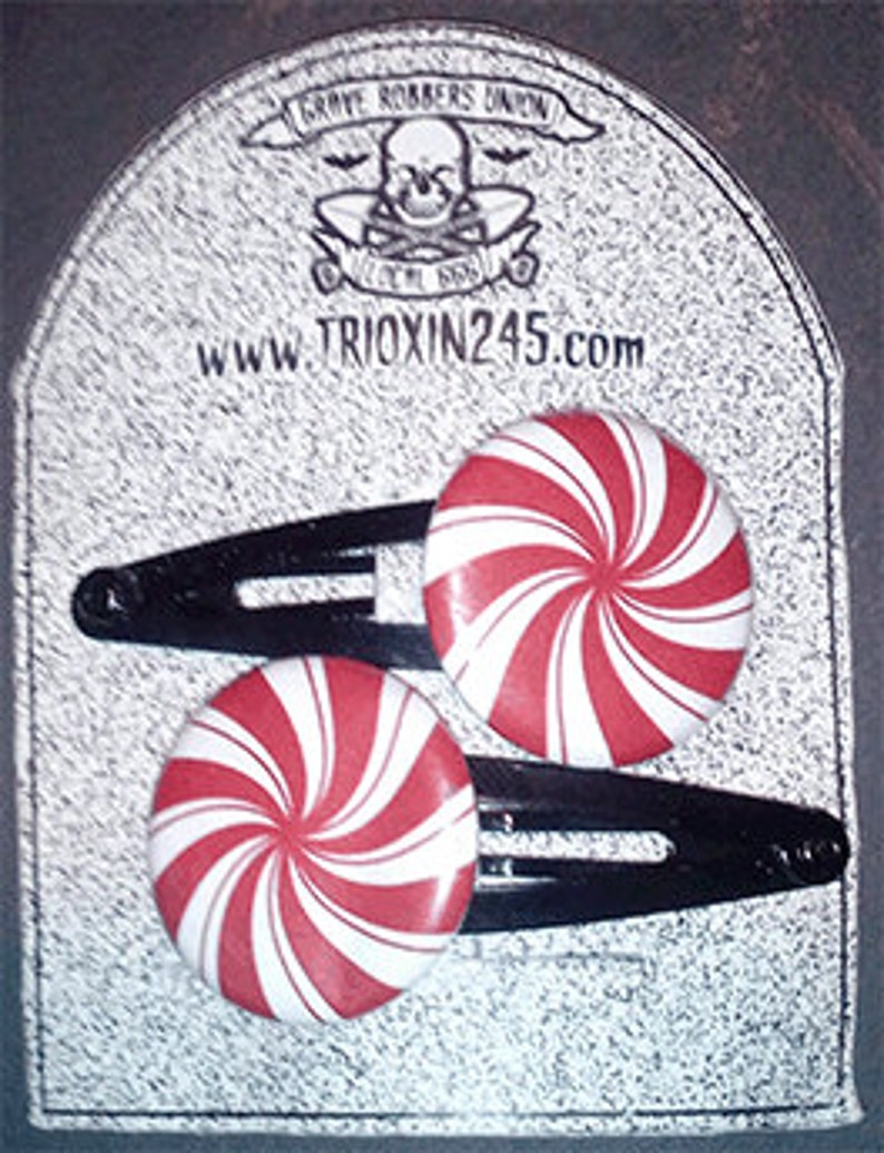 1 Peppermint button Hairclips Psychobilly Goth Punk image 0