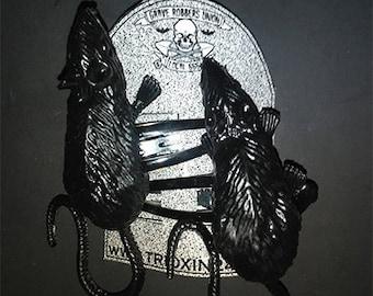 Handmade Rat Hairclips - Psychobilly, Goth, Punk, Halloween