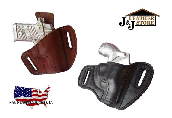 J&J Custom Fit Ruger P89 OWB Outside The Waistband Two Slot Pancake Belt  Carry Formed Premium Leather Holster