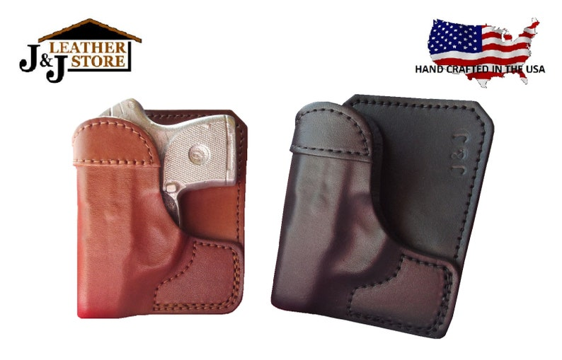 J&J Custom Fit KIMBER MICRO 9 Formed Wallet Style Premium Leather  Back/Cargo Pocket Holster ( Choose: Black Brown Right or Left )