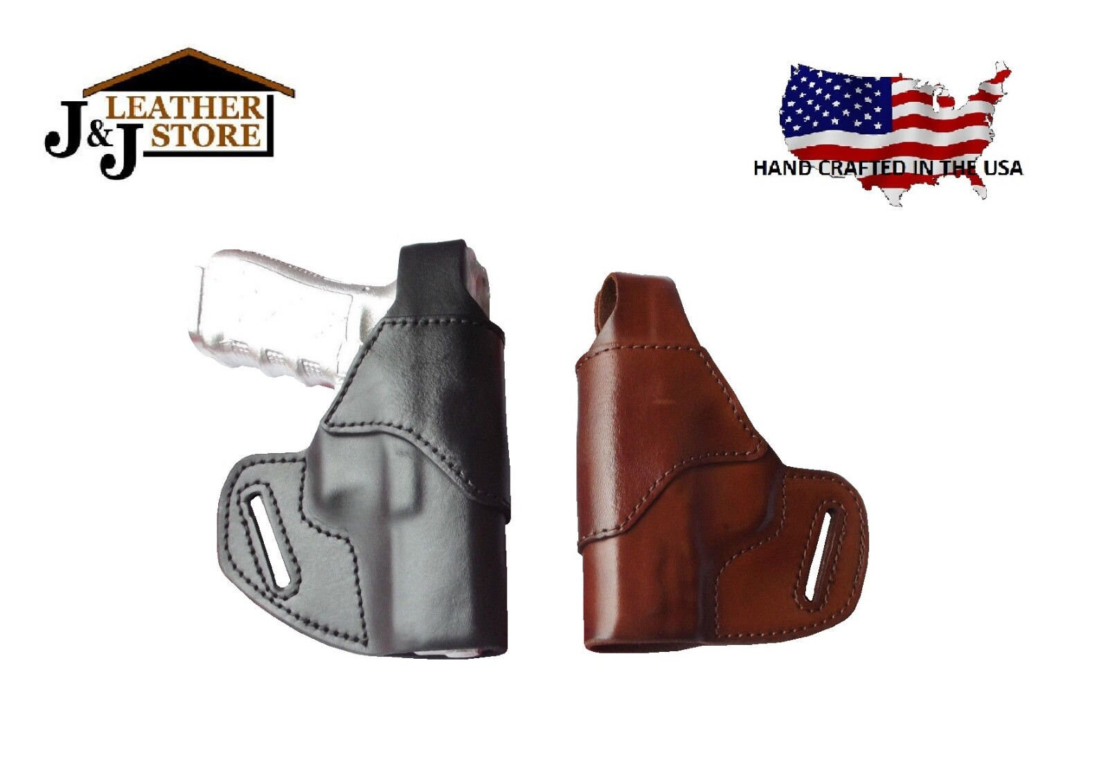 J&J Custom Fit Ruger LCP 2 II 380 W/ Viridian R5 Laser OWB Belt Carry  Formed Leather Holster With Thumb Break