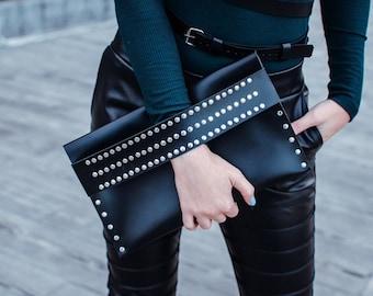 Black leather clutch bag Modern clutch bag Evening leather bag Black clutch purse Womens clutch Evening clutch Leather purse Gift for her