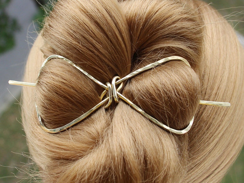 Butterfly Hair Barrette Brass Hair Bun Holder Gold Hair Fork U Shaped Hair Pin