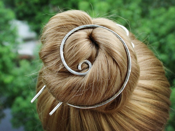 Silver Bun Holder Spiral Hair Bun Cage Hair Fork Silver Hair Etsy