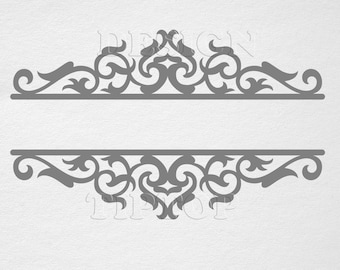 frame svg split frame svg swirl embroidery design silhouette cameo template stickers clipart etching svg scroll saw art dxf designs