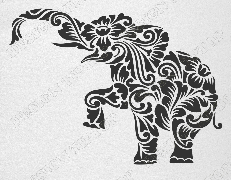 Flower elephant SVG DXF cut file elephant zentangle | Etsy
