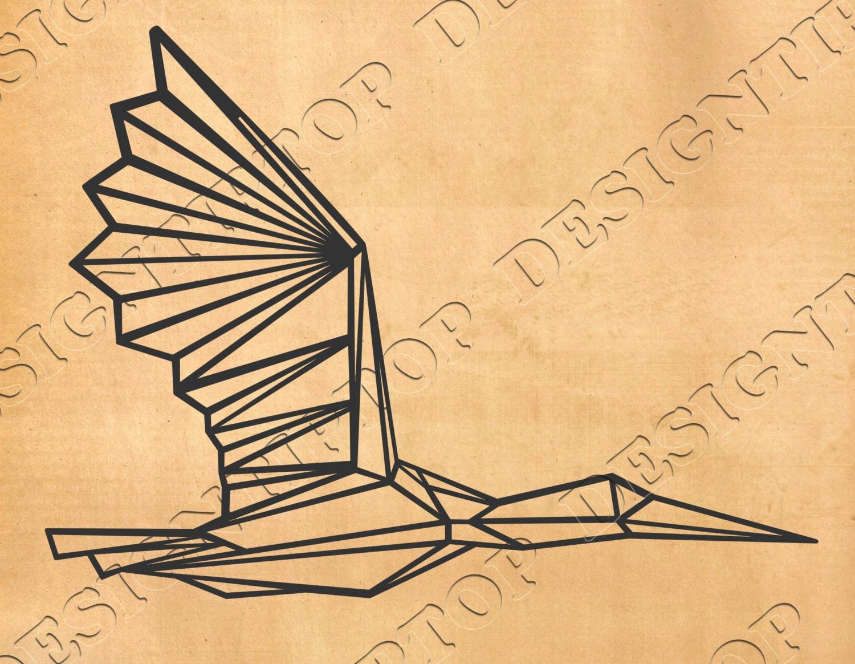 Geometric bird svgGeometric crane Origami Print polygonal | Etsy