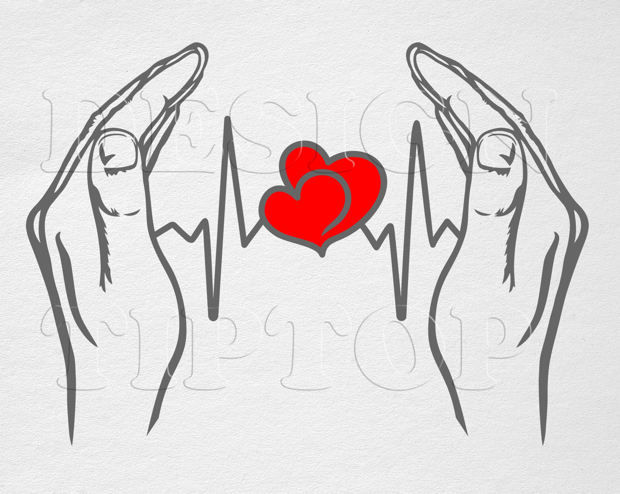 Hands With Heartbeat Svg Dxf Heartbeat Tattoo Laser Engraving Files Heartbeat Embroidery Design Creative Designs Png Silhouette