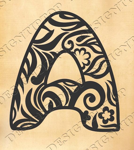Letter SVG Monogram Doodle Zentangle