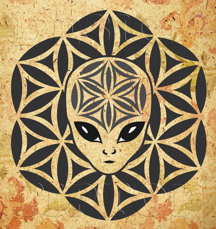 Mandala alien SVG mandala wall art alien shirt alien | Etsy