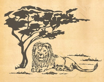 Lion svg, safari svg, safari decor, lion shirt, lion sticker, embroidery pattern, safari party, lion print, lion wall art, car sticker