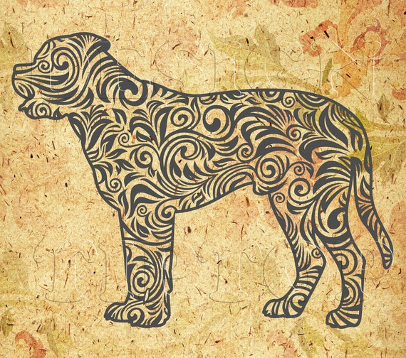 Mastiff SVG, zentangle svg, dog art, dog decor, bull mastiff, dog ...