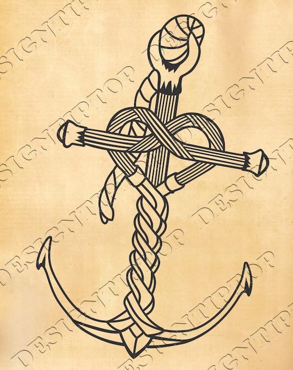 Ancre Marine Dessin ancre svg ancre marine décor de coeur amour svg ornement | etsy