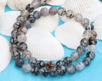 8mm  Dragons Vein Agate Beads, Natural Beads, Gemstone Beads, Gray Dragons vein Agate Beads, Agate Beads,Full Strand(48Pieces) , MRY106