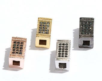Pave Tubes, Cubic Zirconia Rectangle Bead, Rectangle Bead, Micro Pave Rectangle Bead, ,CZ Connector Charms, ZRC36